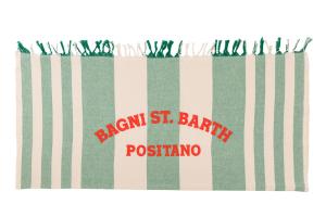 Telo Mare St. Barth Rigato Bianco Verde Ricamo Arancio Positano