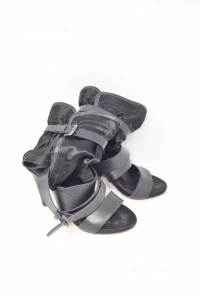Sandals Woman In Real Leather Black N°.38 Tall