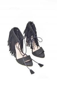 Sandals Woman Zara Black With Fringes N°.38