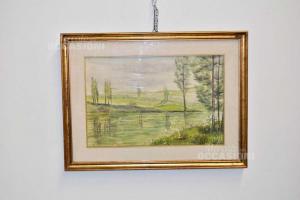 Quadro Dipinto Su Carta Raffigurante Lago Con Alberi Prevalenza Verde, 63 X 47 Cm