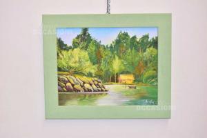 Quadro Dipinto Su Tela Raffigurante Lago Di Montagna Con Casetta, 62 X 52 Cm
