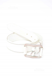 Belt Woman White In Real Leather