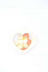 Oggetto In Ceramica Con Tris Gatti Nuovo