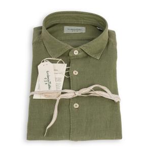 Camicia Tintoria Mattei Lino Verde Militare