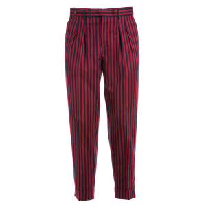 Pantalone PT01 vestibilità carrot  fantasia rigata rosso e blu