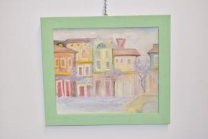 Quadro Dipinto Su Tela Raffigurante Venezia E I Glicini Dimensione 72 X 62 Cm