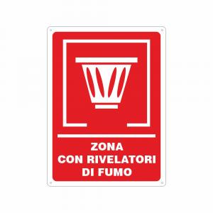 Cartello Zona con rivelatori di fumo