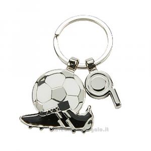 Portachiavi con Scarpetta, Pallone da Calcio e Fischietto in metallo 3x3 cm - Bomboniera comunione bimbo
