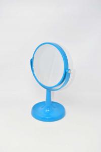 Specchio Make Up Blu In Blastica Con Base Tonsa 28 Cm Altezza