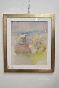 Quadro dipinto Olio Su Tela raffigurazione astratta di Lino Carraretto 88 - 69 X 79 Cm