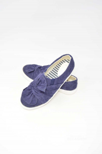 Shoes Woman Blue Dark With Bow Sisternine N° 36