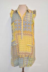 Vestito Camicia Donna Cheitt Giallo Fantasia Grigia Tg 42