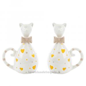 Gatto con luce LED in porcellana bianca 12x9x17 cm - Bomboniera comunione e matrimonio