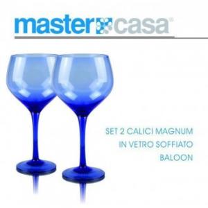 Bis di Calici Magnum Baloon In Vetro Soffiato Da Vino Con Sfumatura Blu Casa Servizio Bicchieri