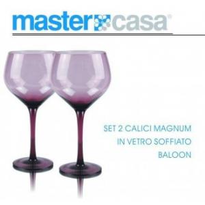 Bis di Calici Magnum Baloon In Vetro Soffiato Da Vino Con Sfumatura Viola Casa Servizio Bicchieri
