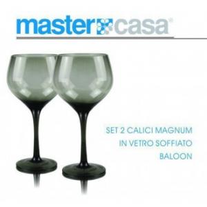 Bis di Calici Magnum Baloon In Vetro Soffiato Da Vino Con Sfumatura Nero Casa Servizio Bicchieri
