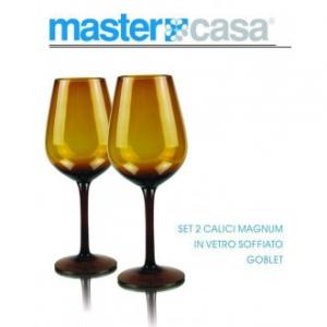 Bis Di Calici Da Vino Magnum Goblet Con Sfumatura Giallo In Vetro Soffiato Casa Cucina