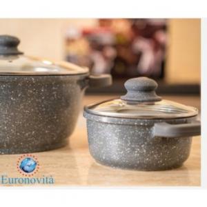 Casseruola Ad Induzione 24X11,5 cm Colore Grigio Con Coperchio In Vetro Con Manici Cucina Casa