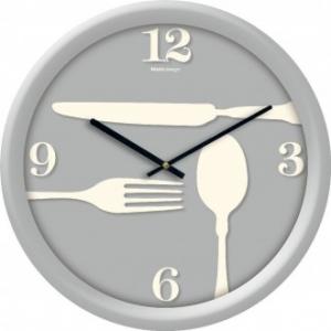 Orologio Linea Fornace 34 Cm Decorato Con Fondo Grigio e Decorazioni Stile Cucina Da Parete Casa Arredo