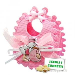 Portaconfetti Bavaglino Rosa con Cicogna 7x3x8.5 cm - Sacchetti battesimo bimba