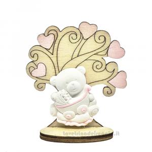 Albero della Vita in legno con Orsetto Rosa 7x6 cm - Bomboniera battesimo bimba