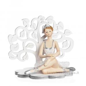 Albero della Vita in lengo con ballerina seduta in resina 8.5x10x8 cm - Bomboniere comunione bimba