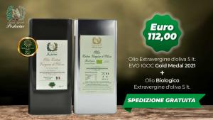 Offerta olio extravergine d oliva + olio extravergine bio latta da 5 litri