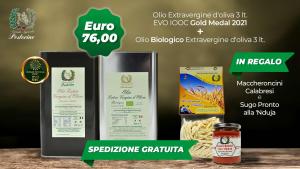 Offerta Olio Extravergine d oliva + Olio Extravergine bio latta 3 litri - Omaggio:  Maccheroncini Calabresi (5oog)e Sugo pronto alla 'Nduja