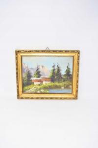 Quadro Dipinto Su Tavola Raffigurante Casa Di Montagna Dimensione 28 X 23 Cm