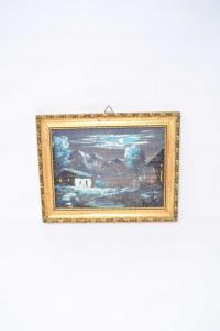 Quadro Dipinto Su Tavola Raffigurante Notte In Montagna Dimensione 28 X 23 Cm
