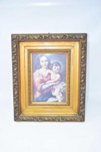 Quadro In Legno Dorato Raffigurante Stampa Della Madonna E Di Gesù Bambino, 34 X 40 Cm