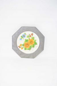 Piatto In Ceramica Con Bordo In Peltro Raffigurante Fiori Diametro 23 Cm Modello 2