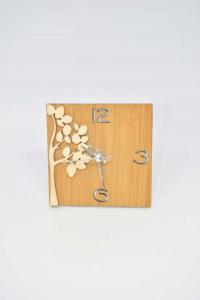 Orologio Da Tavolo Quadrato In Legno E Metallo Albero 11 X 11 Cm