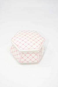 Contenitore In Ceramica Bianco Righe Rosa