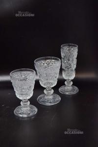 Bicchieri Vetro Intarsiati 4 Acqua + 6 Vino + 5 Spumante