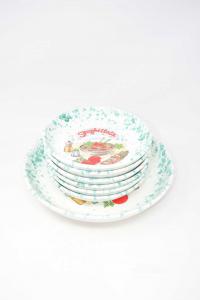 Piatti Spaghettata In Ceramica Bianca Fantasia Verde 1 + 6 Piatti