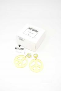 Orecchini Moschino Couture ! Milano Gialli In Plastica
