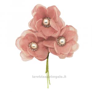 3 pz - Ginestra con strass Rosa Antico 5 cm - Decorazioni bomboniere