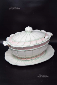 Zuppiera In Ceramica Ovale Con Coperchio, Cucchiaio E Vassoio