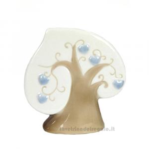Albero della Vita Celeste in porcellana 9x3.5x9 cm - Bomboniera battesimo bimbo