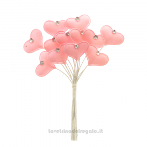 6 pz - Fiore artificiale Cuore Rosa in tessuto - Decorazioni bomboniere