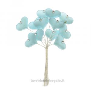 6 pz - Fiore artificiale Cuore Celeste in tessuto - Decorazioni bomboniere