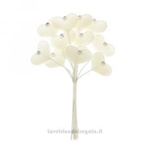 6 pz - Fiore artificiale Cuore Bianco in tessuto - Decorazioni bomboniere