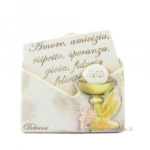 Quadro con Calice e scritta a forma di lettera in polvere di marmo 9.5x10 cm - Bomboniera comunione