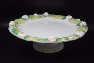 Alzatina In Ceramica Bordo Aglio E Foglie Diametro 38 Cm Altezza 10 Cm