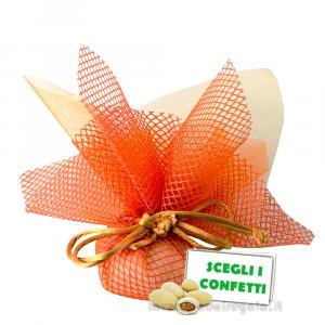 Portaconfetti Altea Arancione velo e rete con tirante 25 cm - Veli bomboniere