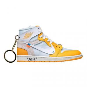 Air Jordan 1 retro high Off White Canary Yellow portachiavi sneaker da collezione