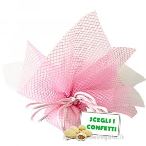 Portaconfetti Altea Rosa velo e rete con tirante 25 cm - Veli bomboniere