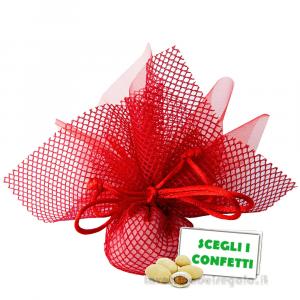 Portaconfetti Altea Rosso velo e rete con tirante 25 cm - Veli bomboniere