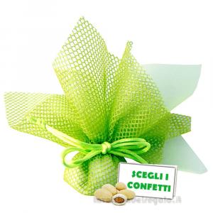 Portaconfetti Altea verde velo e rete con tirante 25 cm - Veli bomboniere